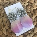 Recycled Tie Dye Pink Blue Yellow Silver Glitter Star Dangles | Ecofriendly |