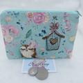 Women's Script Wallet Cosmetic Jewelry Pouch - Owl Design