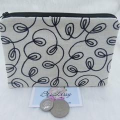Women's Script Wallet Cosmetic Jewelry Pouch - Embroidered Silk