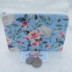 Women's Script Wallet Cosmetic Jewelry Pouch - Blue Floral