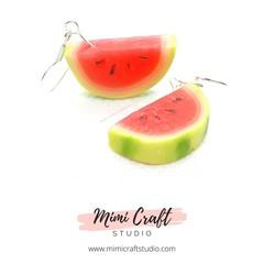 Watermelon Dangle Earrings, Miniature food jewellery