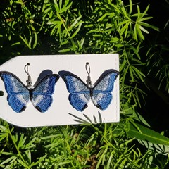 Embroidered Butterfly Earrings