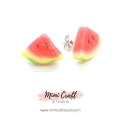 Watermelon Studs Earrings, miniature food jewellery