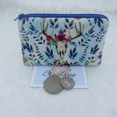 Coin & Card Purse  - Blue Boho Deer
