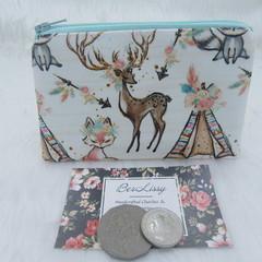 Coin & Card Purse  - Boho Deer & Teepee