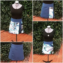 4 Seasons Wrap Skirt - 4 in 1 Blue palm