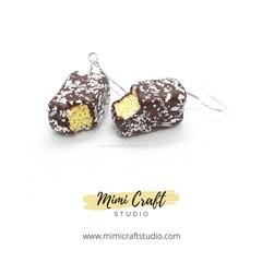 Lamington Dangle Earrings, miniature food jewellery