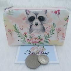 Coin & Card Purse  - Raccoon Floral