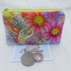 Coin & Card Purse  - Bright Flower