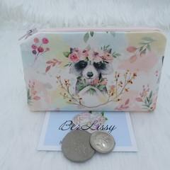 Coin & Card Purse  - Raccoon Bouquet
