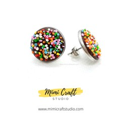 Rainbow Speckles Studs Earrings