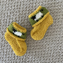 Yellow sheep  booties - Hand knitted in Pure Wool