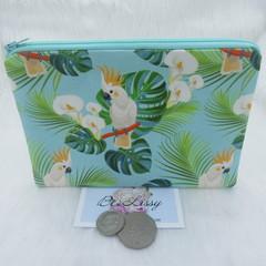 Women's Script Wallet Cosmetic Jewelry Pouch - Australian Cockatoo