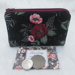 Coin & Card Purse  - Black Floral