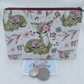 Women's Script Wallet Cosmetic Jewelry Pouch - Boho Deer Design