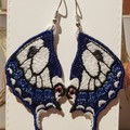 Swallowtail Butterfly Wings Embroidered Earrings