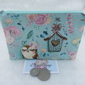 Women's Script Wallet Cosmetic Jewelry Pouch - Owl Design