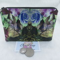 Women's Script Wallet Cosmetic Jewelry Pouch - Floral Abstract Design