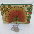 Women's Clutch, Cosmetic, Jewellery Pouch - Peacock Design