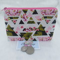 Women's Script Wallet Cosmetic Jewelry Pouch - Pink Geometric Design