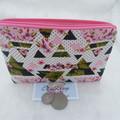 Women's Script Wallet Cosmetic Jewelry Pouch - Pink Geometric Design