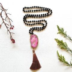 Pink Druzy & Lava stone Mala meditation Necklace