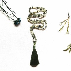 Semi precious Green Quartz Mala Meditation Necklace with Green Silk Tassel