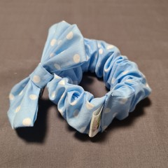 Blue Spotted Wide Scrunchie and Bow Set
