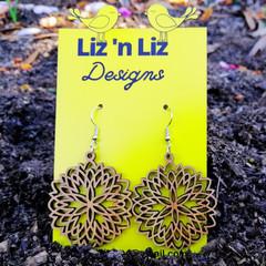 Mandala bamboo earrings hook style