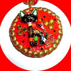 Poly clay, enamel, gold cat pendant