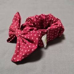 Burgundy Stars Bow With Matching Scrunchie Set