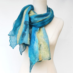 Blue Silk and Wool Felt Fashion Scarf - Yallingup Lagoon