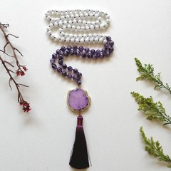 Amethyst & White Czech glass beads Mala Meditation Necklaces with Purple sliced