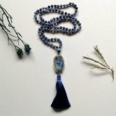 108 semi-precious Sodalite Mala Meditation Necklace with Blue Silk tassel