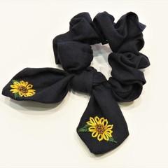 Sunflowers Linen Hand Embroidery Scrunchie-Navy Blue