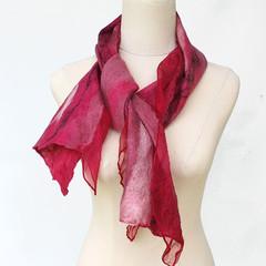 Magenta Red  Silk and Wool Felt Fashion Scarf - Shiraz