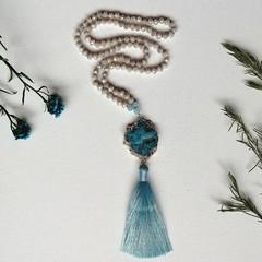 Semi precious Aquamarine & Czech glass beads with quartz connector  Mantra Praye