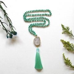 108 Mint Czech glass beaded Mala Mantra Prayer Healing stones Necklace with Whit