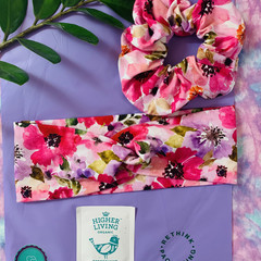 Turban twist headband & jumbo scrunchie set florals