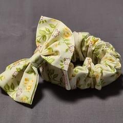 Lemon Floral Wide Scrunchie and Bow Set