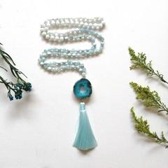 Semi precious Agate and Czech glass beads  108 Mantra Prayer Healing stones Mala