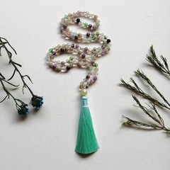 Rainbow Fluorite meditation Mala Necklace with Aqua Silk Tassel