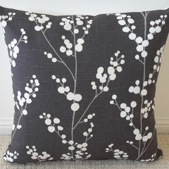 Charcoal Grey with Cream Blooms Cushion Cover