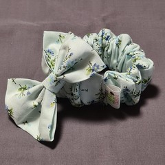 Light Blue Floral Wide Scrunchie and Bow Set