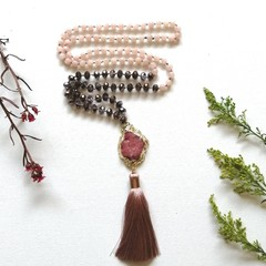 Pink dyed Jade Mala Meditation Necklace with Dusty Pink Silk Tassel