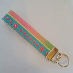 Blue and pink flower pattern key fob wristlet