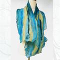 Blue Silk and Wool Felt Fashion Scarf - Yallingup Lagoon