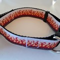 Flame print adjustable dog collars medium / large