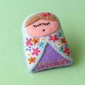 Handmade babushka brooch, Russian doll, Embroidered Brooch, Matryoshka