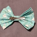 Aqua White Floral Wide Scrunchie and Bow Set